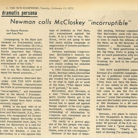 "Newman calls McCloskey ""incorruptible"" - TNH article"