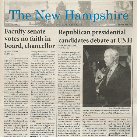 Republican presidential candidates debate at UNH - TNH article