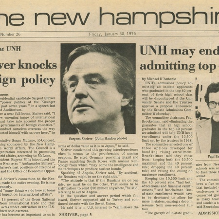 Shriver knocks foreign policy; Speaks at UNH - TNH article