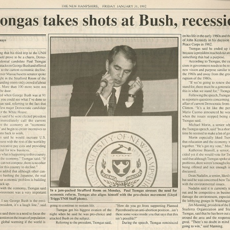Tsongas takes shots at Bush, recession - TNH article