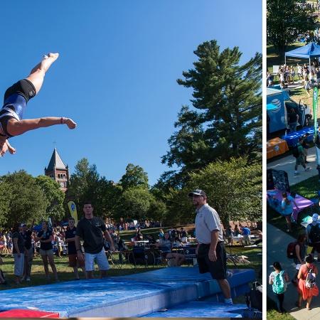 A gymnast doing a flip on a trampoline