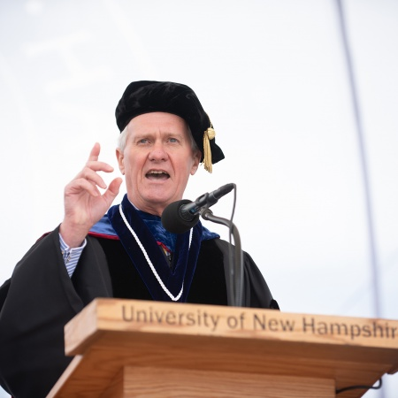 UNH President Mark W. Huddleston speaking during UNH commencement, Saturday, May 19, 2018