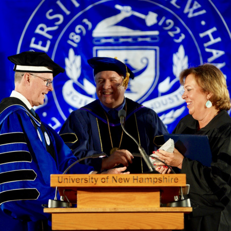 President James Dean and dignitaries at UNH Manchester Commencement