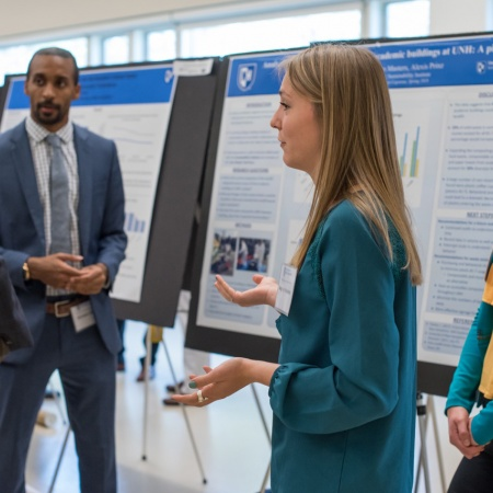 A University of New Hampshire student presenting research results during the 2018 Undergraduate Research Conference