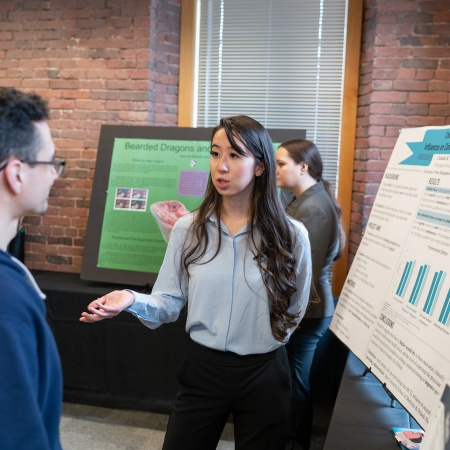 A UNH Manchester student presents research results during the 2018 Undergraduate Research Conference