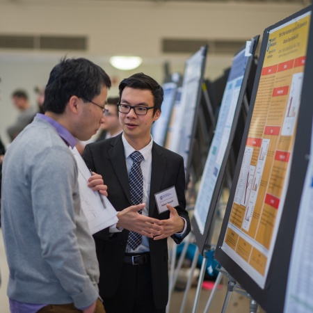 A UNH student presenting the results of his research during the UNH College of Life Sciences and Agriculture Undergraduate Research Conference 2018
