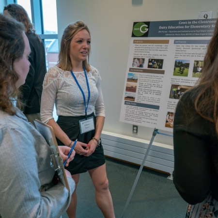 UNH senior Elle Purrier presents her research results at the 2018 College of Life Sciences and Agriculture Undergraduate Research Conference