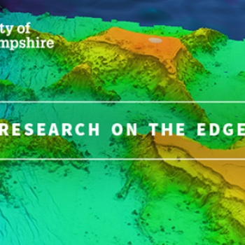 """A map graphic with the words """"Research on the Edge"""""""