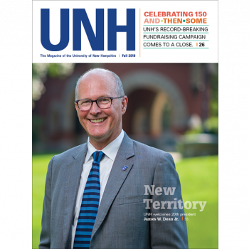 UNH Magazine Fall 2018 Cover - UNH President Jim Dean on T-Hall Lawn