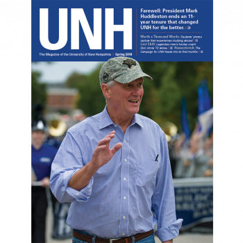 UNH Magazine Spring 2018 Cover - UNH President Mark Huddleston during Homecoming parade 2017