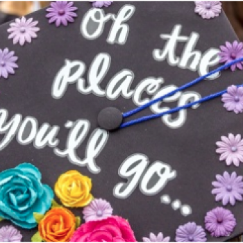 """A graduation cap with the words """"oh the places you'll go"""""""