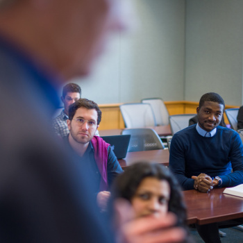 Students listening to a professor