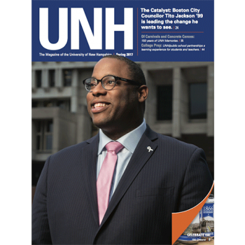 the cover of the spring 2017 issue of the UNH Alumni Magazine, featuring alumnus and Boston City Councilor Tito Jackson '99