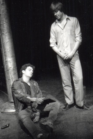Donor Mike O'Malley '88 (left) performing in a 1986 Undergraduate Prize Play.