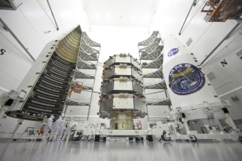 MMS satellites stacked in NASA rocket
