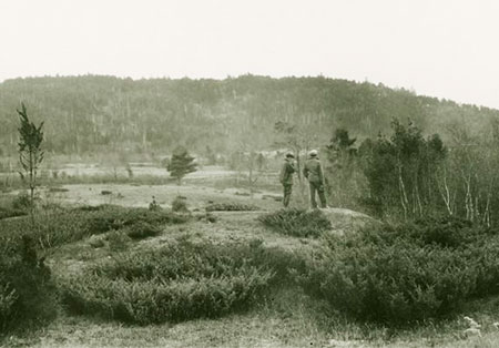 Outing Club Camp on Middle Pawtuckaway Mountain view from cabin ca. 1927