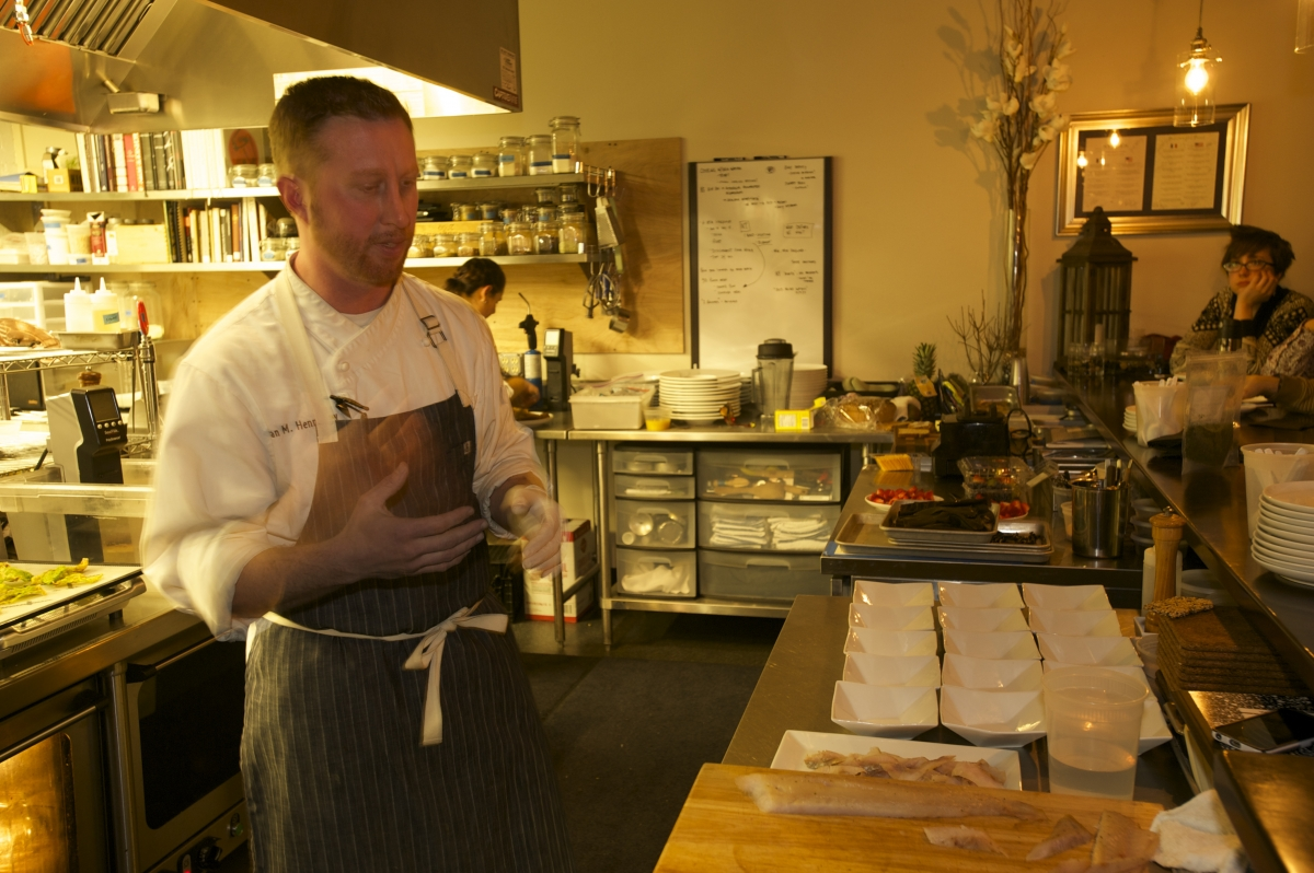 Stages chef Evan Hennessey cooks seaweed