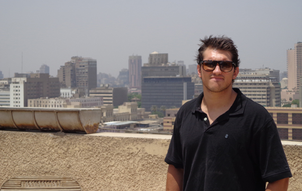 Nate Petrocine on hotel roof, looking toward south western Cairo.