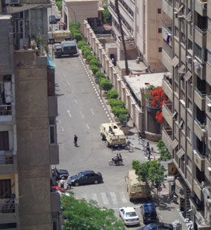 Egyptian military forces guarding Interior Ministry, as seen from my hotel.