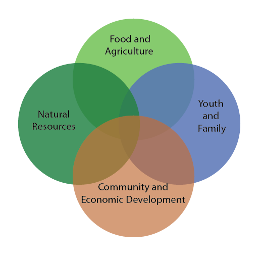 Venn diagram showing focus areas for cooperative extension.