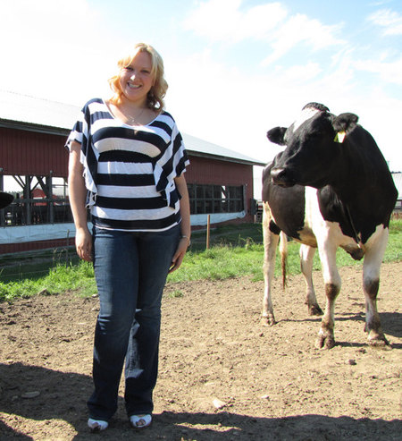 Rosie Cabral a Ph.D. student conducts her primary research at the Fairchild Dairy at UNH