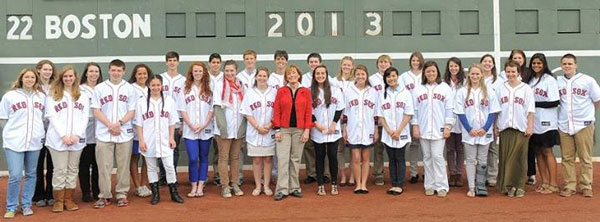 Schoalarship recipients at Fenway