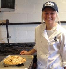 Audra St. Hilaire '15 with her first apple streusel pie