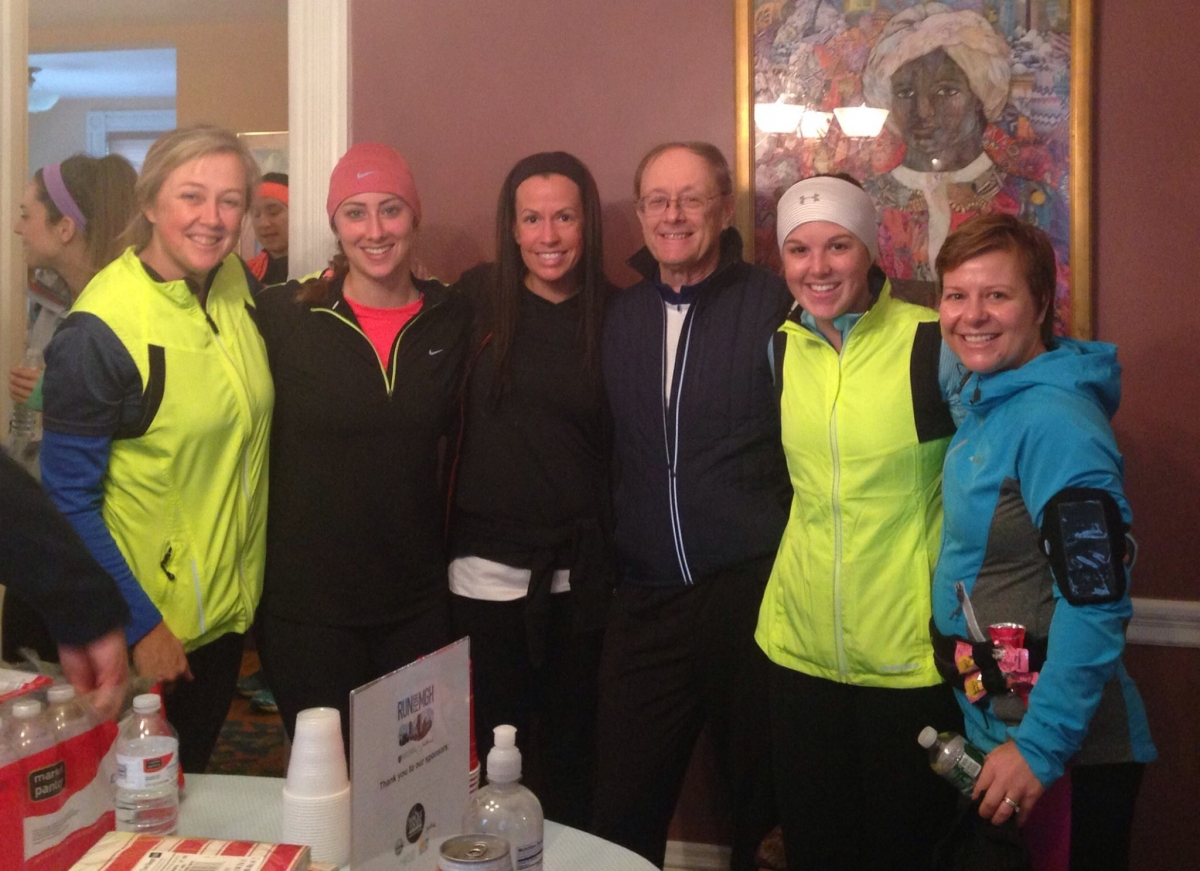 Jennifer Anstead and other UNH alumni before a Boston Marathon training run