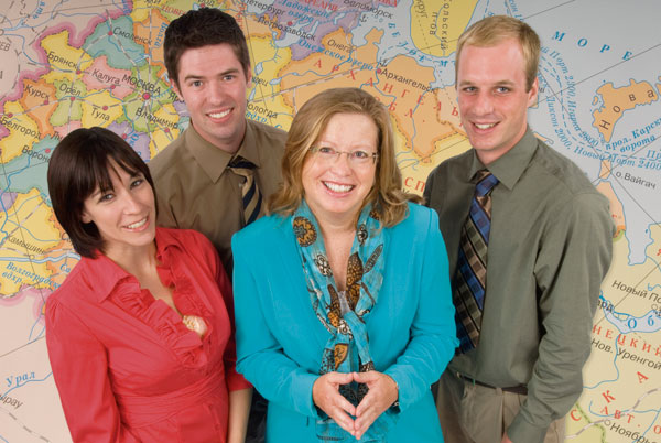 Launched in 1997, the International Research Opportunities Program was the first of its kind at a U.S. university. Photo: Professor Cathy Frierson surrounded (from left) by students Sarah Gormady, Andrew McKernan, and Andrew Langsner.
