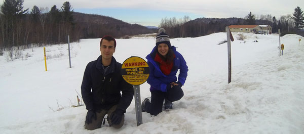 Kaity Thomson '14 and Brett Chamerlin work along the pipeline in Vermont