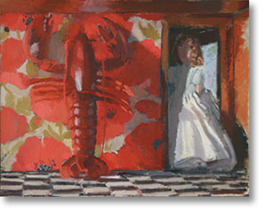 Painting of lobster and girl in doorway
