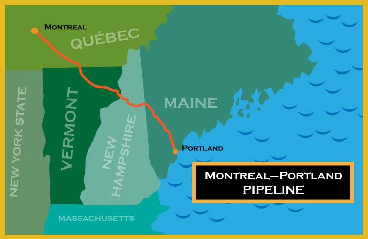 map of the portland montreal pipeline