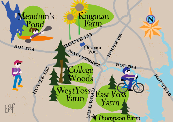 A whimsical map of UNH Recreation Areas