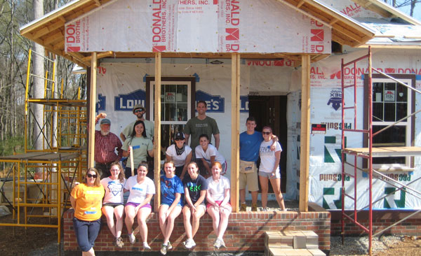UNH students worked building a house in Pittsboro, North Carolina, during spring break.