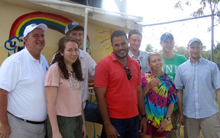 'Professor James Malley, Emily Carlson '12, Ransom Richardson '12', Cumayasa English teacher and local ambassador Miguel Lorenzo, Alex Rozycki '12, Kayla Mineau '12, Tad Robertson '12, and Harrison Roakes '12.