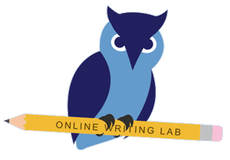 Online Writing Lab Logo - Owl perched on a pencil