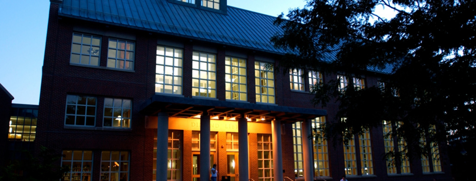 Dimond Library exterior at dusk