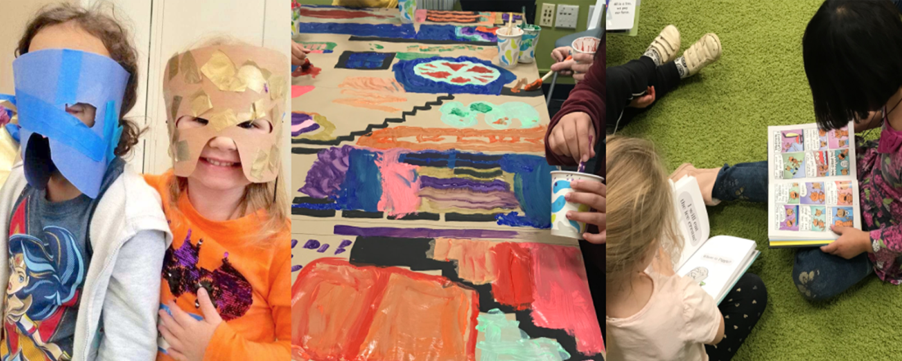 Children painting and reading at UNH CLC