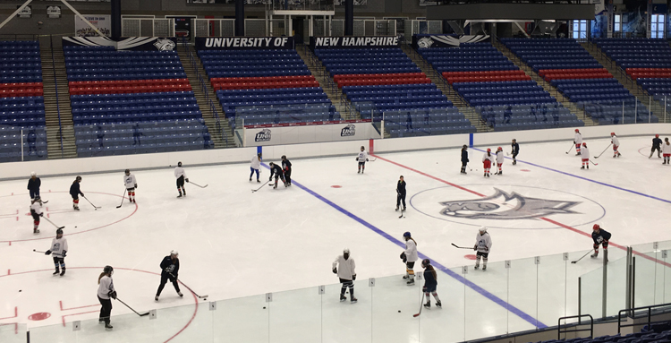 Long shot of UNH Girls Hockey camp at the Whittemore Center