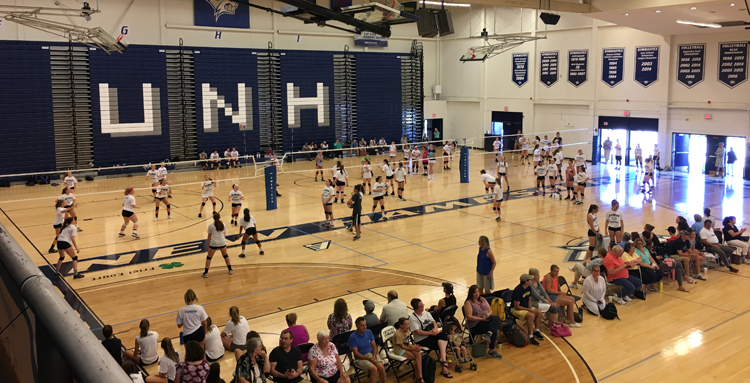 Multiple games being played at UNH Volleyball Camp
