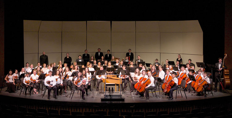 UNH youth symphony orchestra in concert hall
